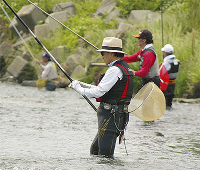 相模川のアユ漁が解禁