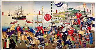 米船渡来旧諸藩士固之図  「小田原市提供」