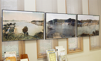 ヴェルニー記念館に展示されているパネル写真。施設前に広がる今の風景との比較が楽しい。市自然・人文博物館では、大画面による映像展示を行っている