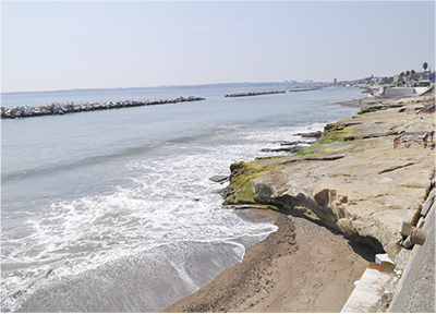 砂の流失で岩盤が露出した野比海岸