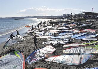 メッカとされる津久井浜海岸。かつて隣接する三浦海岸でW杯が盛大に開かれたこともある