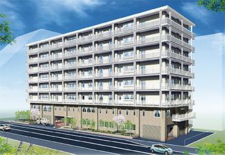 8階建ての外観イメージ図、駅から徒歩5分の市街地に立地。
