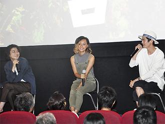 メインキャストのRUEEDさん、AISHAさん、窪塚俊介さん(写真左から)