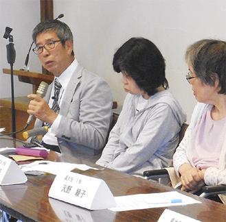 片マヒ希望の会・妻沼祐一会長(左)と会員