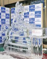 「氷の日本犬」凛々しく