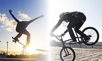 うみかぜ公園ではスケートボードとBMXの愛好家が連日技を競っている