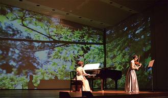 ブラームスのヴァイオリンソナタでは、キラキラとした新緑がステージを彩った