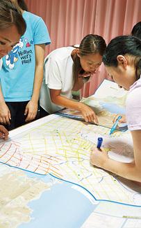 地図上に複数の危険区域を書き込む