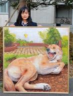 愛犬の戯れ 緻密に描写