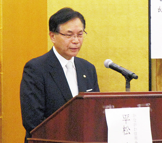 渋沢栄一記念財団主催の講演会で講師を務めた平松理事長