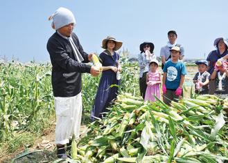 美味しいトウモロコシの見分け方を教える生産者。先月30日に長井の畑で行われた収穫体験