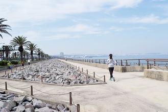 人気ランニングコースの馬堀海岸 遊歩道を会場にする