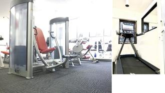 全5台のランニングマシンは全て個室に設置(右)。トレーニングマシンも充実