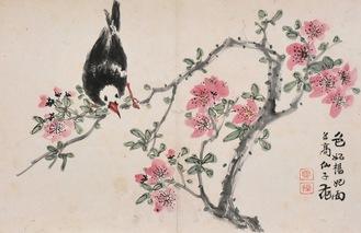 長島雪操「花鳥画冊」より《桃花小禽図》1884年、横須賀市蔵