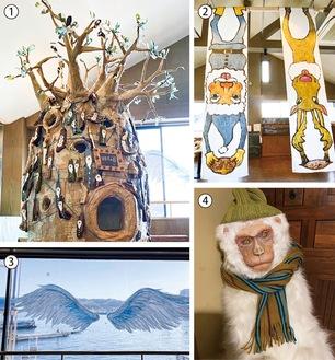 【1】段ボールで作られたバオバブの木【2】サンタとトナカイが逆さにデザインされたタペストリー【3】クレパスで窓に描かれた翼【4】本物そっくりな猿の人形