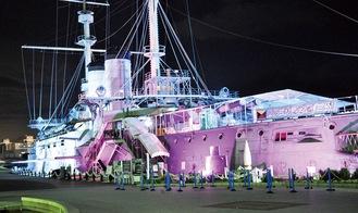 トリコロールカラーに彩られた船体が闇夜に浮かぶ