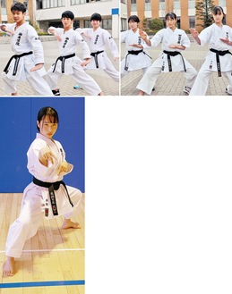左上から時計回りに男子団体:生田、山本、斎藤、女子団体:木村、那須、佐藤、女子個人:真鍋