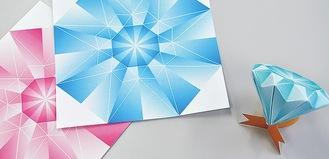 1枚の紙をガイドに合わせて折るだけで立体作品に