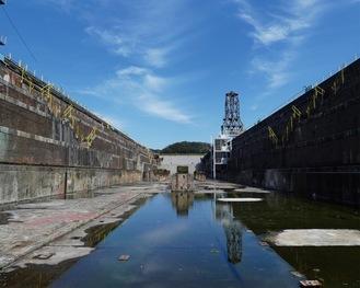 底部分から撮影したレンガドック=浦賀行政センター提供