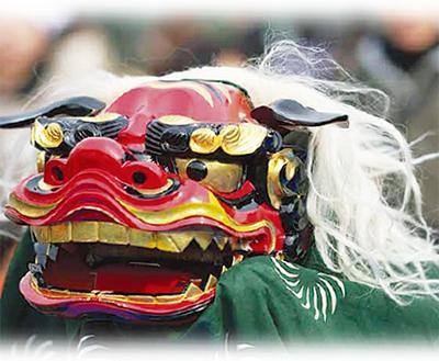 獅子舞で新春の彩り