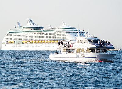 大小の船舶洋上から観察