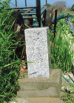 畑中の道に建つ「狐塚」の石塔