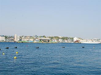 三崎港を挟んだ海上では整備が行われている