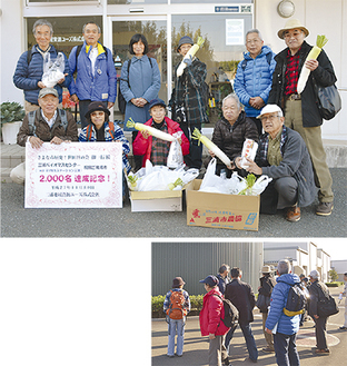 2000人目の見学者となった市民団体メンバーら(写真上)、解説を受けながら場内の設備を歩いて回った(同下)