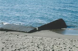 神社の前浜にある大石(天神丸)