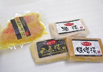金目鯛の西京麹漬(写真左)と、めかじきの粕・味噌・西京漬(同右)