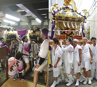 三崎昭和館で舞う2頭の獅子=写真左=と、町内を歩く神輿