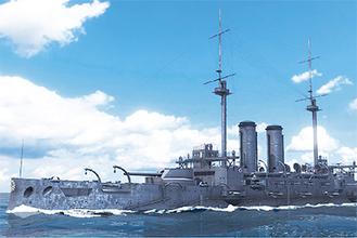 ゴーグルを装着すると眼前に戦艦三笠の雄姿が現れる