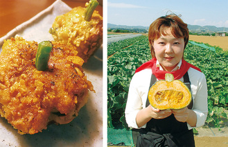 レシピを考案した三浦市農協の大内さん=右写真=と、かぼちゃコロッケ(写真はイメージ)=同左=