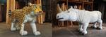 写真左:《Animal 2014-01》  2014年 樟、油彩 撮影 三沢厚彦 右:《Animal 2010-01》  2010年 樟、油彩 撮影 永野雅子  ©Misawa Atsuhiko, Courtesy of Nishimura Gallery