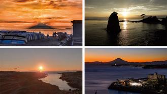 (写真右上から)立石公園、大崎公園、城ヶ島、森戸海岸