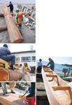 (左上から反時計回りに)だんだんと船になっていく丸太。1トンの大木は100キロに。4日間の作業日数で形になった