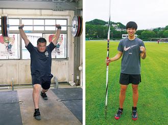 8月5日のやり投げに出場する渡辺さん(写真右)と、同3日にウエイトリフティング102キロ級に出場する高橋さん