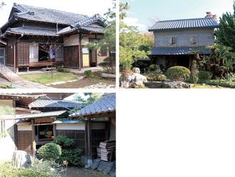 (写真左から時計回りに)旧長谷川家の主屋、石蔵、庭門及び内塀(三浦市教委提供)
