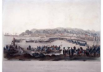 ヴィルヘルム・ハイネ《ペリー日本遠征の石版画 久里浜上陸》1855年 横須賀市自然・人文博物館蔵