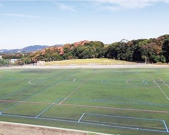 ピンクの線が新たに整備されたラクロスライン(写真提供/スポーツプラザ報徳)