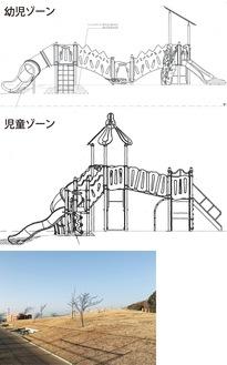 遊具イメージ図(市提供)=写真上=、スポーツ公園内設置予定地=同下=