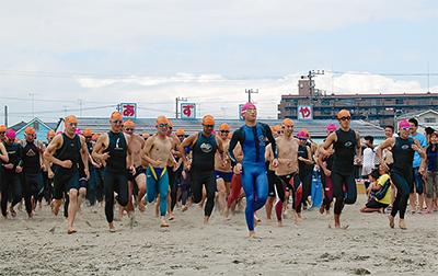 遠泳自慢が三浦海岸に集結
