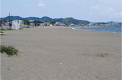 砂浜でタスキリレー