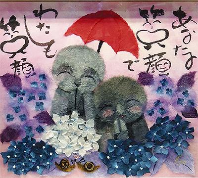 和紙で描くアジサイ