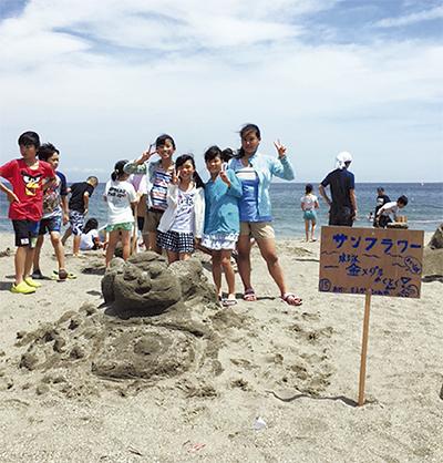 五輪テーマの砂像に挑戦
