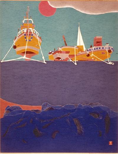 友禅で描く海の風景