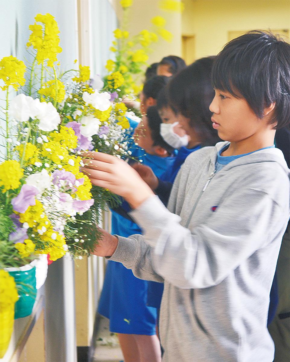 生け花で門出祝福