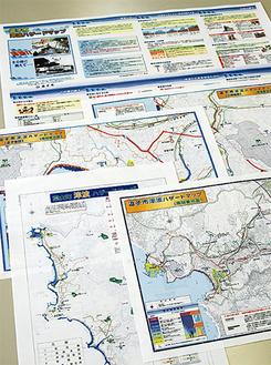両市町のホームページなどに掲載されているハザードマップ。現行のもので想定に誤りなどがないか、今一度見直す時だ