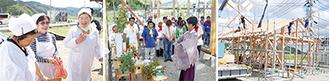 右から建設が進む「竹駒食堂」。神事で工事が安全に行われるよう祈る参加者。「三陸のおふくろの味を提供したい」と意気込む調理スタッフ。
