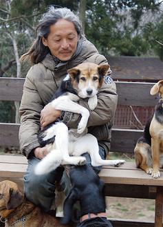 菊池さんに抱かれるミックス犬の「モチ」。KDPのシェルターには現在モチを含む8匹の被災犬が保護されている
